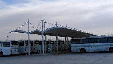 沙波头机场公交站膜结构停车棚